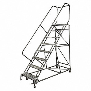 "7-Step Rolling Ladder, Perforated Step Tread, 100"" Overall Height, 800 lb. Load Capacity"