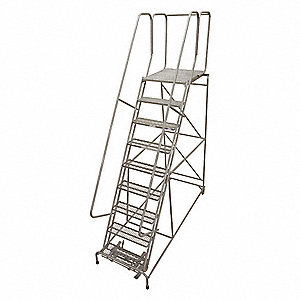 "9-Step Rolling Ladder, Antislip Vinyl Step Tread, 120"" Overall Height, 450 lb. Load Capacity"