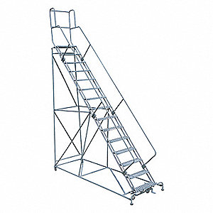 "15-Step Rolling Ladder, Serrated Step Tread, 192"" Overall Height, 450 lb. Load Capacity"