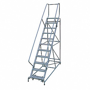 "11-Step Rolling Ladder, Expanded Metal Step Tread, 140"" Overall Height, 450 lb. Load Capacity"