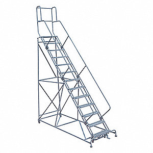 "13-Step Rolling Ladder, Expanded Metal Step Tread, 172"" Overall Height, 450 lb. Load Capacity"