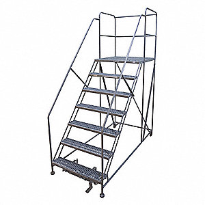 "Rolling Work Platform, Steel, Single Access Platform Style, 70"" Platform Height"