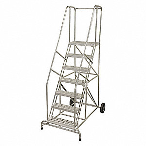 "7-Step Wheelbarrow Ladder, Serrated Step Tread, 100"" Overall Height, 350 lb. Load Capacity"