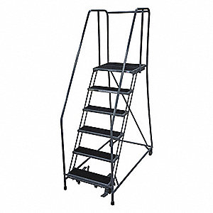 "6-Step Rolling Ladder, Antislip Vinyl Step Tread, 90"" Overall Height, 450 lb. Load Capacity"