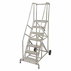 "10-Step Wheelbarrow Ladder, Serrated Step Tread, 130"" Overall Height, 350 lb. Load Capacity"