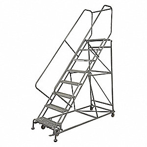 "9-Step Rolling Ladder, Perforated Step Tread, 120"" Overall Height, 800 lb. Load Capacity"