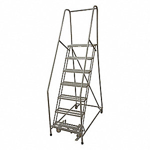 "7-Step Rolling Ladder, Antislip Vinyl Step Tread, 100"" Overall Height, 450 lb. Load Capacity"