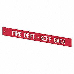Printed Retracta-Cade Insert; Features Fire Dept.-Keep Back Message, Red/White Text