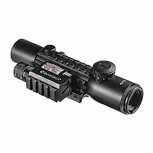 Rifle Scope, 4x Magnification, 28mm Objective Lens, Mil Dot Reticle