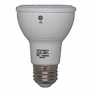 7.0 Watts LED Lamp, PAR20, Medium Screw (E26), 500 Lumens, 2700K Bulb Color Temp.