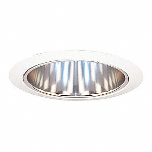 "6"" White Open Style Halogen, Incandescent, LED Recessed Downlight Trim, Aluminum Reflector"