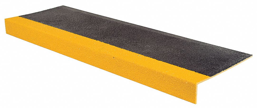Yellow/Black, Fiberglass Stair Tread Cover, Installation Method: Adhesive or Fasteners, Square Edge