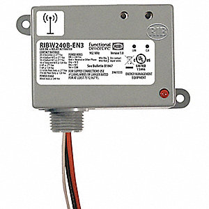 Wireless Relay and Transmitter, 240VAC, 20A @ 277V, 5A @ 480V, 7 Pins, SPDT, 19.2VA, 50 to 150 ft.
