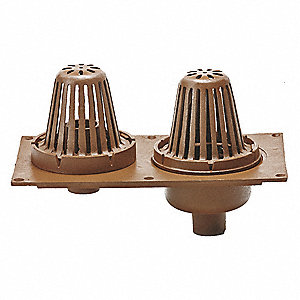"Cast Iron Round Roof Drain, No Hub Connection, 2"", Pipe Dia., 11-3/4"" Height - Drains"