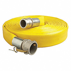 "50 ft. Yellow Water Discharge Hose, 2"" Fitting Size, 200 psi"