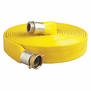 "50 ft. Yellow Water Discharge Hose, 4"" Fitting Size, 150 psi"