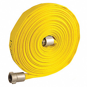 "Wildland Fire Hose, Single Jacket, 1"" Hose Inside Dia., 50 ft., Yellow"
