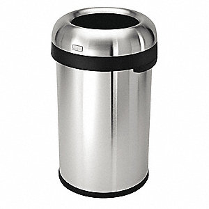 "Simplehuman 21 gal. Round Open Top Trash Can, 30""H, Silver"