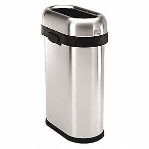 Trash Can,Slim,13 gal.,Silver