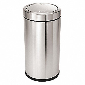 "Simplehuman 14-1/2 gal. Round Dome Trash Can, 29-3/16""H, Silver"