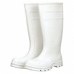 "15""H Men's Knee Boots, Plain Toe Type, PVC Upper Material, White, Size 12"