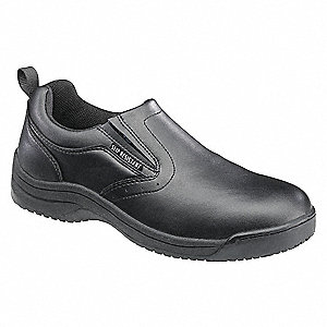 "4""H Men's Slip-On Shoes, Plain Toe Type, Black, Size 10-1/2"