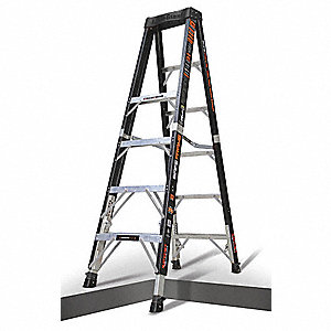 Stepladder,with Ratchet Legs,6 ft.H