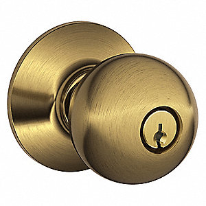Entrance F-Series Residential Knob Lock, Antique Brass Finish
