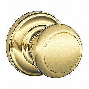 Passage F-Series Residential Knob Lock, Bright Brass Finish