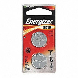 Coin Cell Coin Cell, Voltage 3, Battery Size 2016, 2 PK