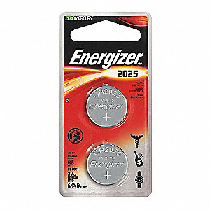 Coin Cell Coin Cell, Voltage 3, Battery Size 2025, 2 PK