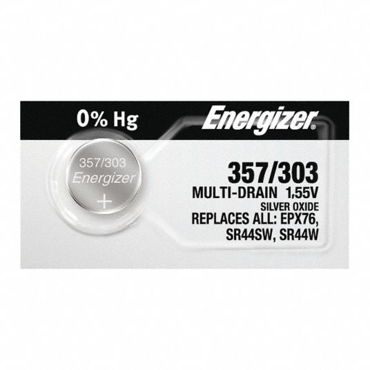303/357,  Button Cell Battery,  ANSI,  Silver Oxide,  1.5V DC,  Diameter 0.45 in,  Depth 0.205 in