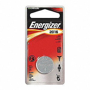 Coin Cell Coin Cell, Voltage 3, Battery Size 2016, 1 EA