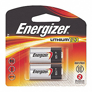Lithium Lithium Cell Battery, Voltage 3, Battery Size 123, 2 PK