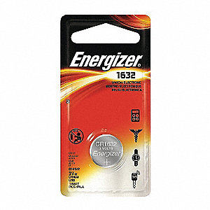 Coin Cell Coin Cell, Voltage 3, Battery Size 1632, 1 EA