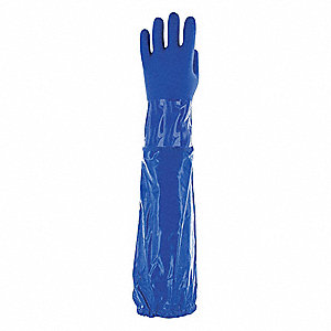 CHEMICAL RESISTANT GLOVE,GAUNTLET,SIZE 8