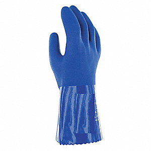 PVC Gloves, 79 mil Thickness, Cotton Lining, Size 9, Blue, PR 1
