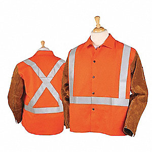 Flame-Resistant Coat,Sz XL,Hi-Vis Orange