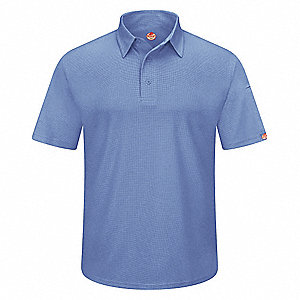 "Medium Blue Short Sleeve Polo,  M,  100% Polyester,  Regular Length,  Fits Chest Size 38"" to 41"""