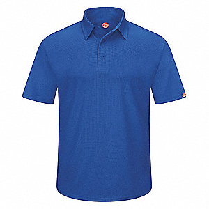 Royal Blue Short Sleeve Polo,  4XL,  100% Polyester,  Regular Length