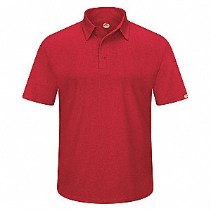 "Red Short Sleeve Polo,  M,  100% Polyester,  Regular Length,  Fits Chest Size 38"" to 41"""