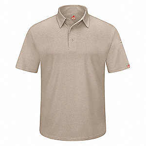 "Tan Short Sleeve Polo,  4XL,  100% Polyester,  Regular Length,  Fits Chest Size 58-1/2"" to 63"""