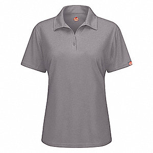 "Gray Short Sleeve Polo,  M,  100% Polyester,  Regular Length,  Fits Chest Size 37"" to 39-1/2"""