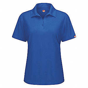 "Royal Blue Short Sleeve Polo,  XS,  100% Polyester,  Regular Length,  Fits Chest Size 33"" to 35"""
