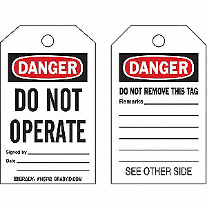 "Danger Tag, Plastic, Do Not Operate, 5"" x 3"", 10 PK"