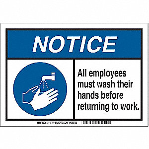 "Wash Hands, Notice, Plastic, 10"" x 14"", With Mounting Holes, Not Retroreflective"