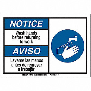 Notice Sign,7inHx10inW,Wash Hands Before