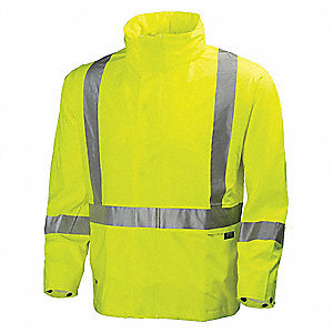 Rain Jacket, High Visibility: No, ANSI Class: Unrated, Polyester, Polyurethane, 2XL, Yellow/Green