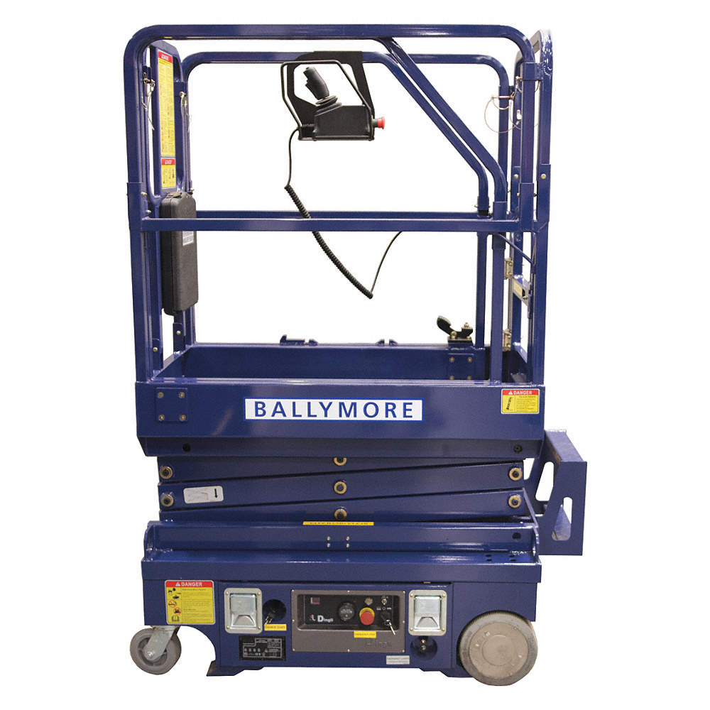 Scissor Lift, Yes Drive, Battery Power Source, 19 ft  Max  Work Height, 500  lb  Load Capacity