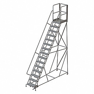 Rolling Ladder,Steel,15 Steps,Cap.450lb.